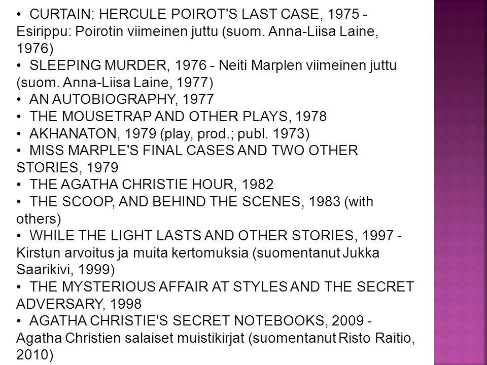 CURTAIN: HERCULE POIROT S LAST CASE, 1975 - Esirippu: Poirotin viimeinen juttu (suom.