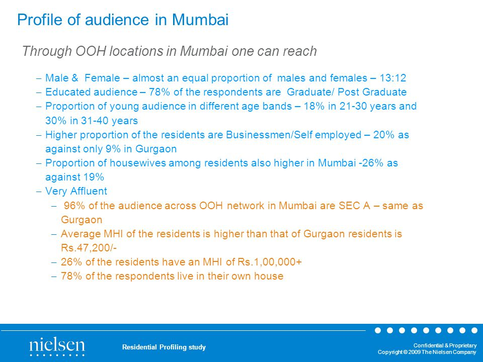 Confidential & Proprietary Copyright © 2009 The Nielsen Company Residential Profiling study Profile of audience in Mumbai – Male & Female – almost an
