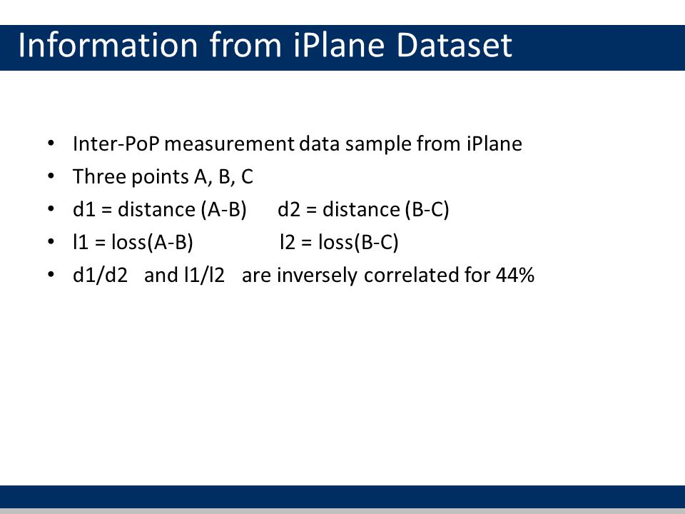 Information from iPlane Dataset Inter-PoP measurement data sample from iPlane Three points A, B, C d1 = distance (A-B) d2 = distance (B-C) l1 = loss(A