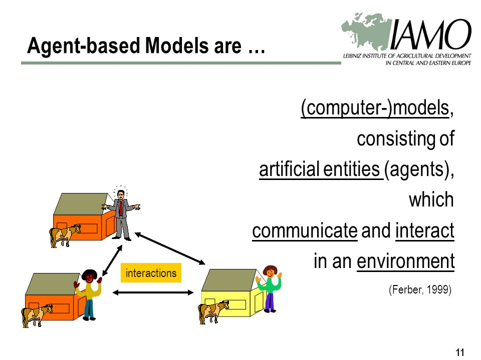 11 (computer-)models, consisting of artificial entities (agents), which communicate and interact in an environment (Ferber, 1999) interactions Agent-based Models are …