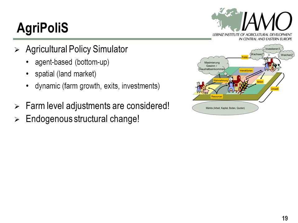 19 Agricultural Policy Simulator agent-based (bottom-up) spatial (land market) dynamic (farm growth, exits, investments) Farm level adjustments are considered.