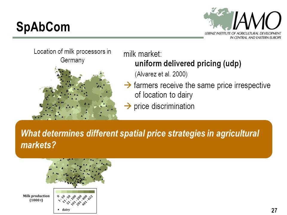 27 SpAbCom Location of milk processors in Germany milk market: uniform delivered pricing (udp) (Alvarez et al.