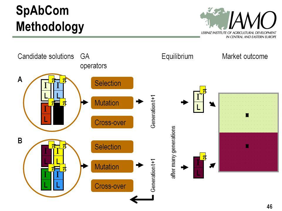 46 Market outcome SpAbCom Methodology L L L L L L L L A B Candidate solutionsGA operators Selection Mutation Cross-over Generation t+1 Selection Mutation Cross-over Generation t+1 L L Equilibrium after many generations