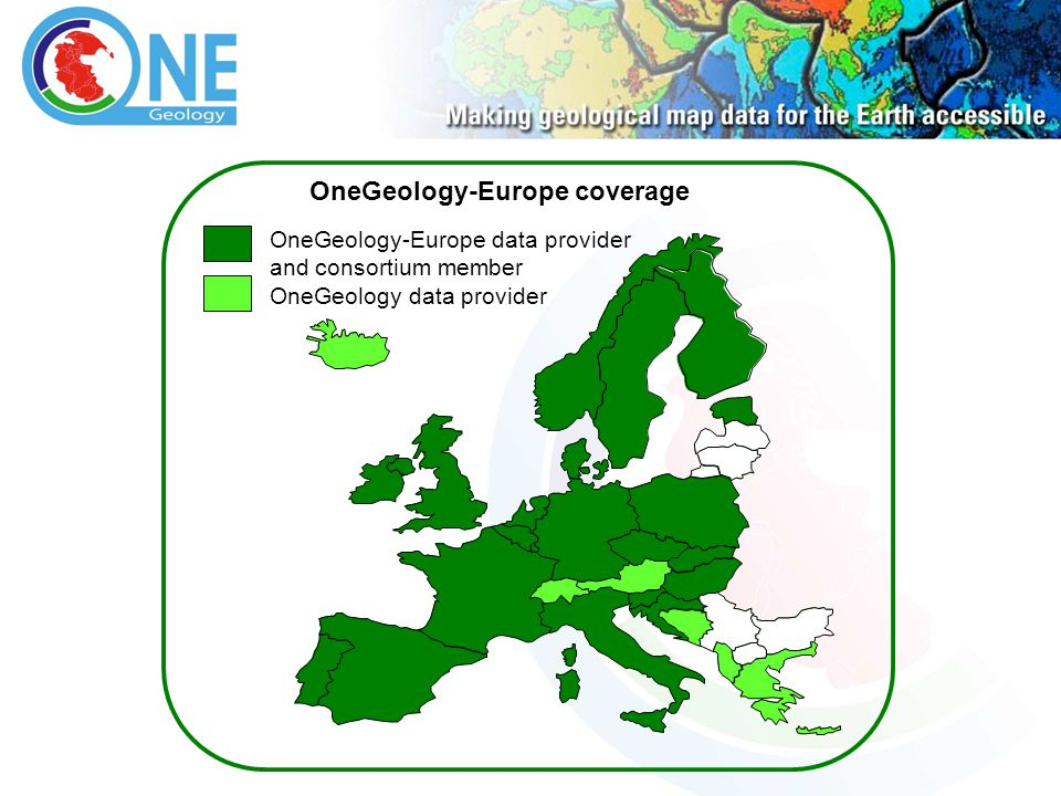 OneGeology-Europe data provider and consortium member OneGeology data provider OneGeology-Europe coverage