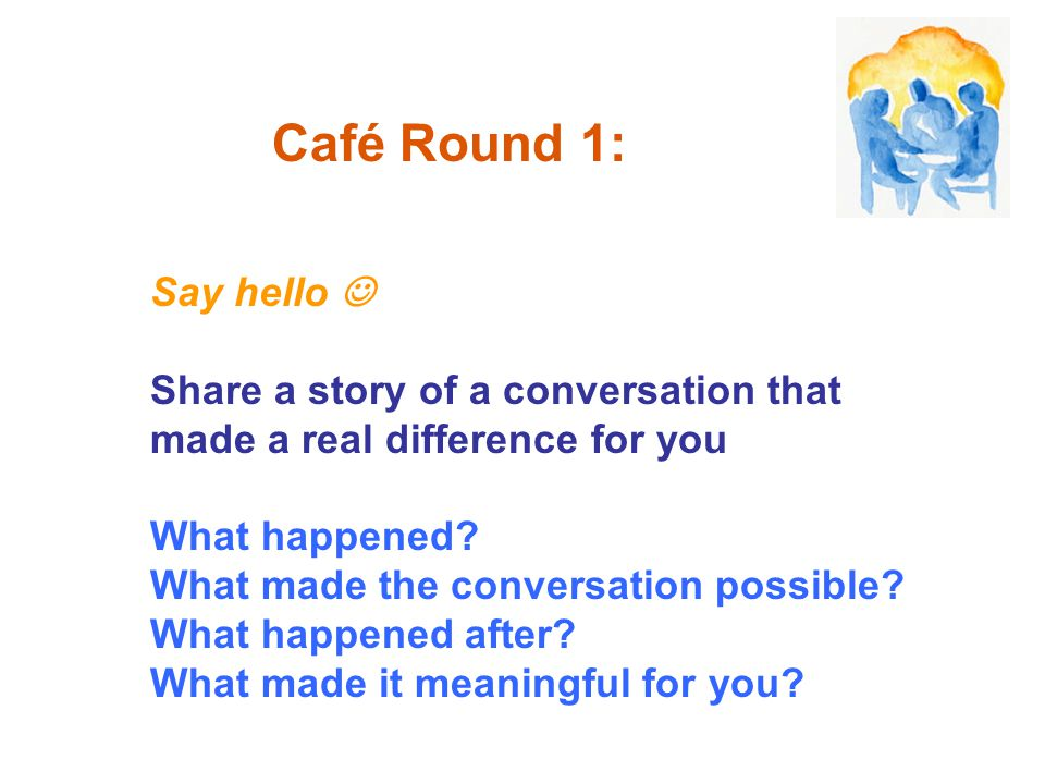 Say hello Share a story of a conversation that made a real difference for you What happened? What made the conversation possible? What happened after?