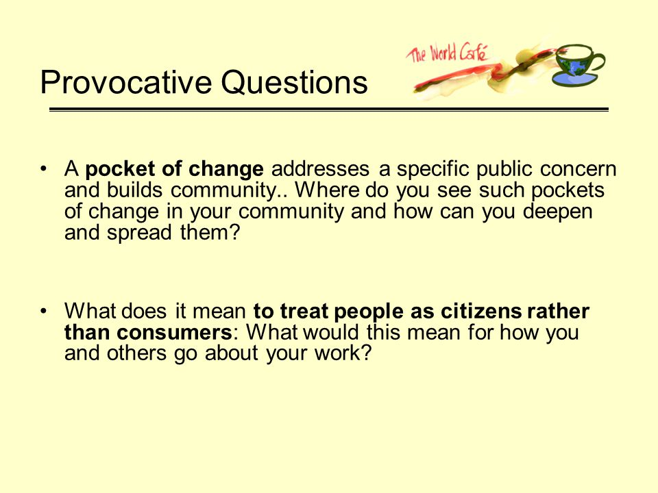 Provocative Questions A pocket of change addresses a specific public concern and builds community..