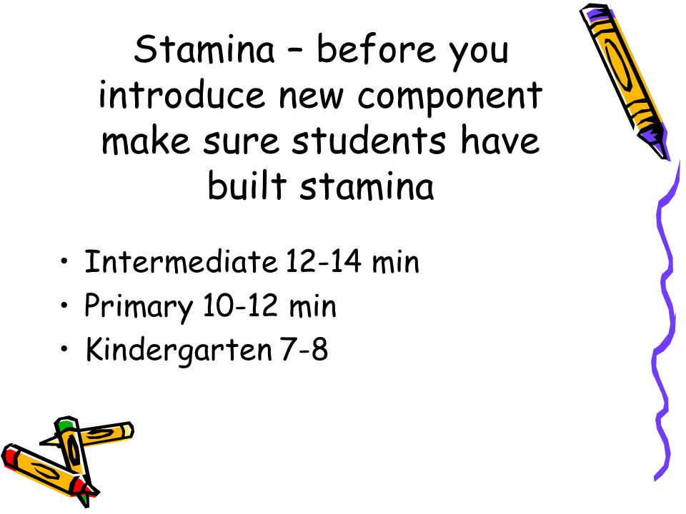 Stamina – before you introduce new component make sure students have built stamina Intermediate min Primary min Kindergarten 7-8