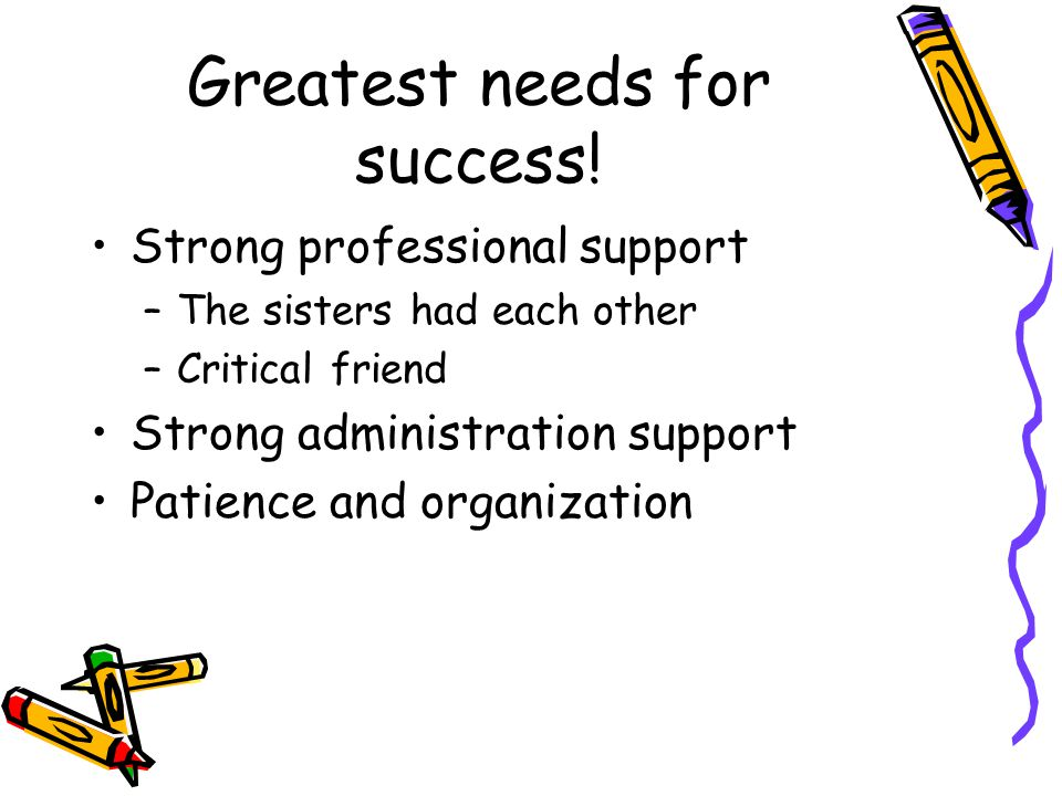 Greatest needs for success.