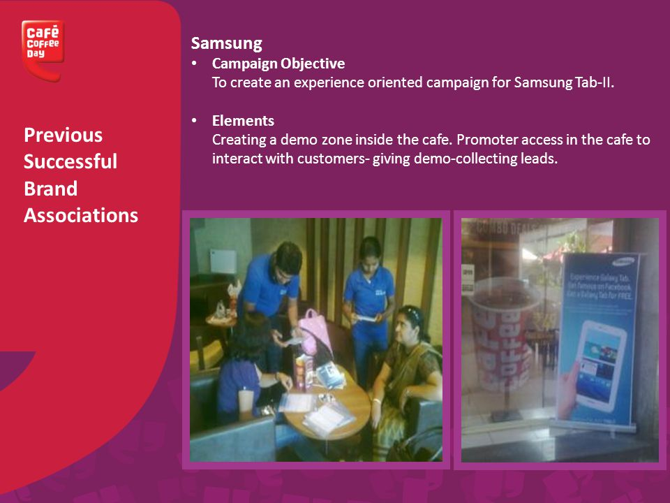 Previous Successful Brand Associations Samsung Campaign Objective To create an experience oriented campaign for Samsung Tab-II.