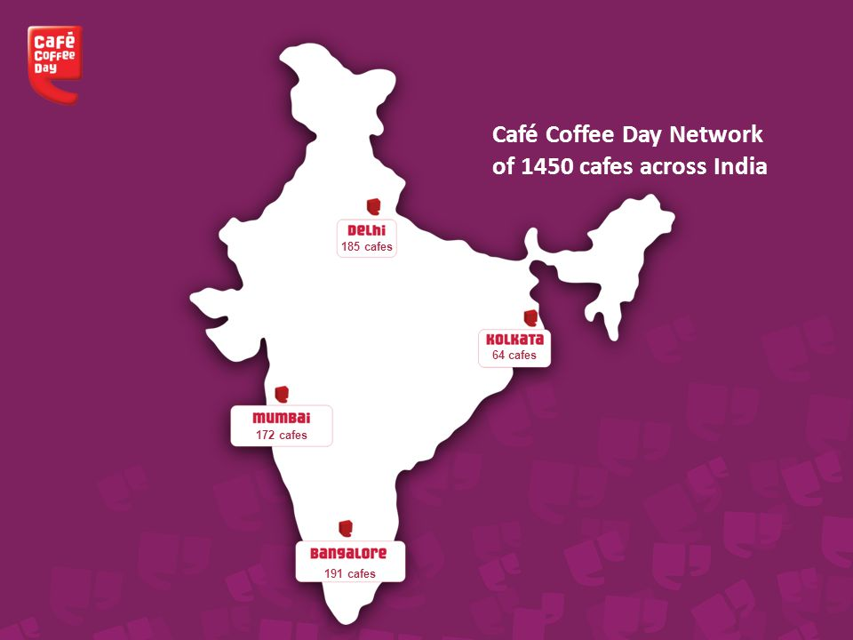 Café Coffee Day Network of 1450 cafes across India 185 cafes 64 cafes 172 cafes 191 cafes