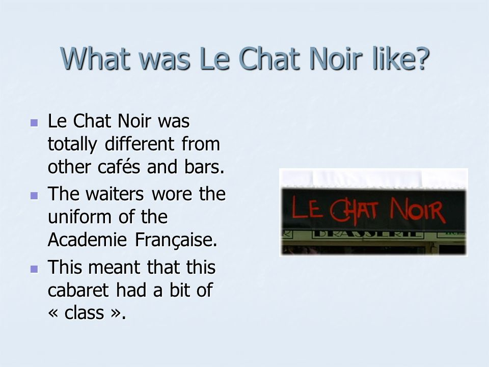 What was Le Chat Noir like. Le Chat Noir was totally different from other cafés and bars.