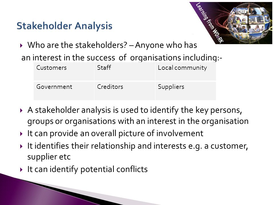 Stakeholder Analysis StakeholderImportanceRelative influence Risks/ assumptions Action The steps Draw up a stakeholder table/diagram identifying who the stakeholders are.