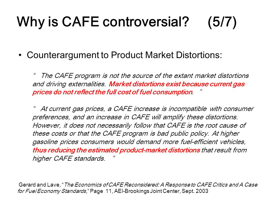 Why is CAFE controversial? (5/7) Counterargument to Product Market Distortions: The CAFE program is not the source of the extant market distortions an