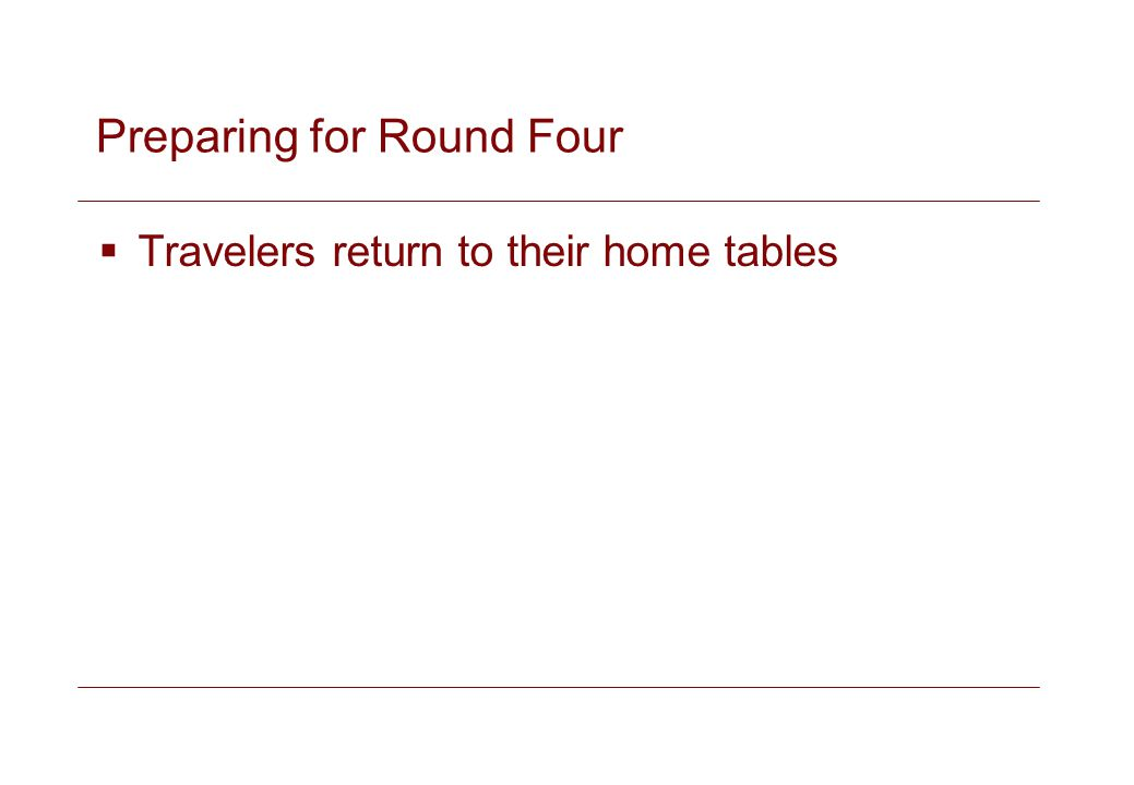 Preparing for Round Four Travelers return to their home tables