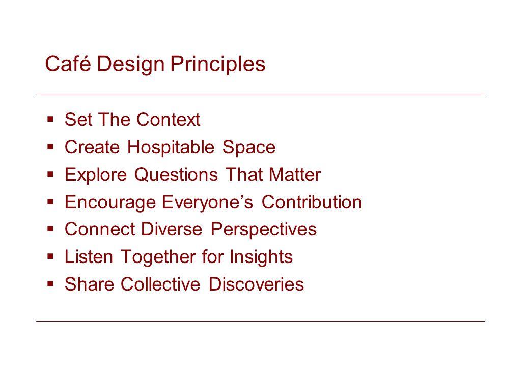 Café Design Principles Set The Context Create Hospitable Space Explore Questions That Matter Encourage Everyones Contribution Connect Diverse Perspect