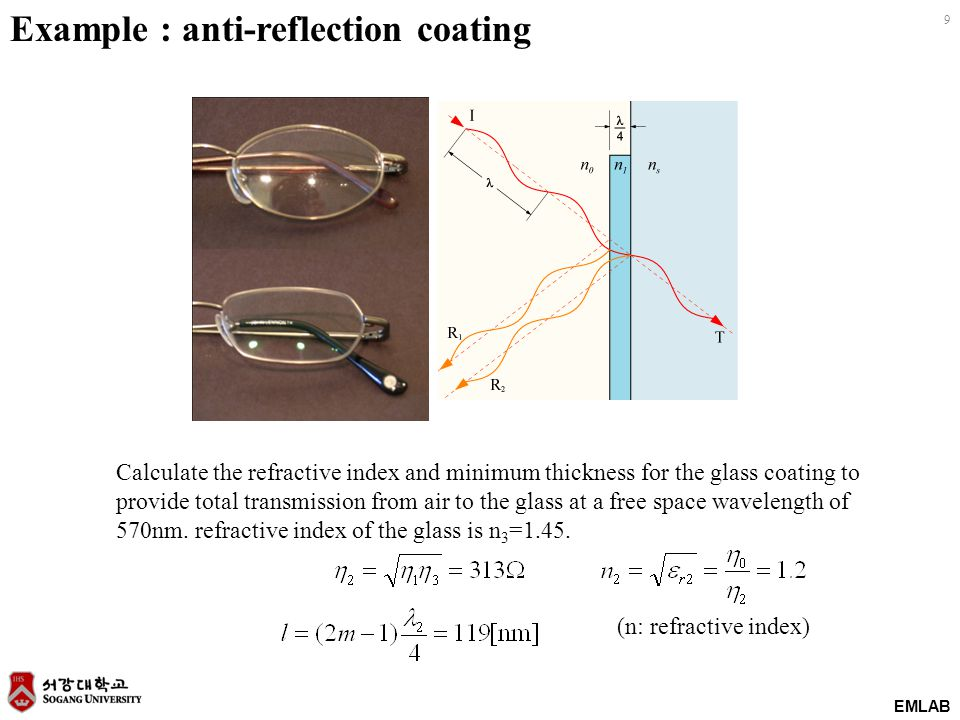 EMLAB 9 Example : anti-reflection coating Calculate the refractive index and minimum thickness for the glass coating to provide total transmission fro