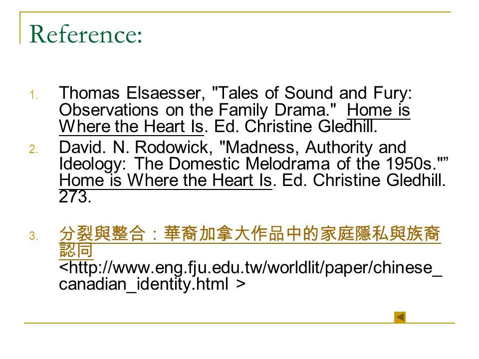 Reference: 1. Thomas Elsaesser,