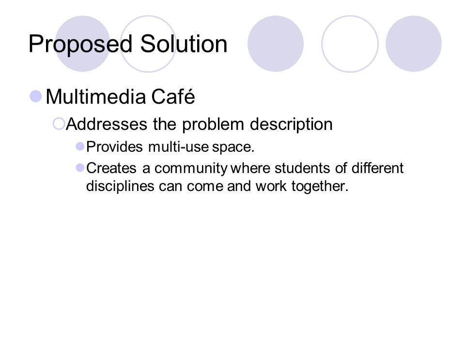 Proposed Solution Multimedia Café Addresses the problem description Provides multi-use space. Creates a community where students of different discipli