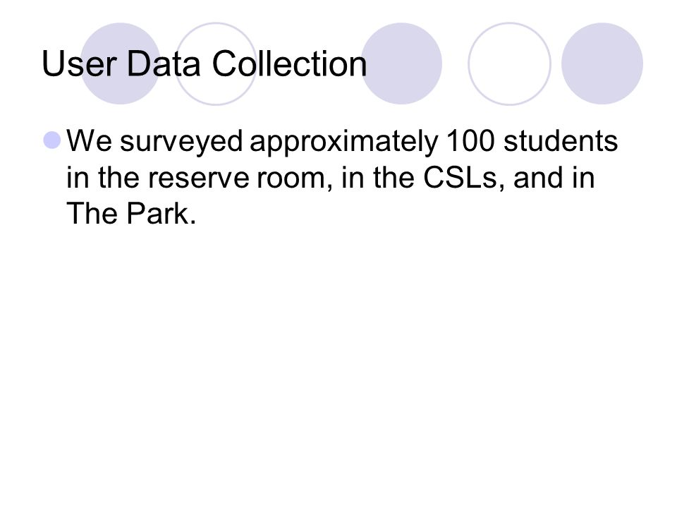 User Data Collection We surveyed approximately 100 students in the reserve room, in the CSLs, and in The Park.