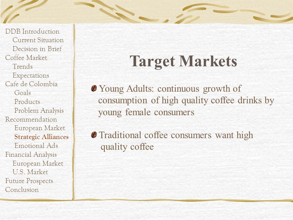 DDB Introduction Current Situation Decision in Brief Coffee Market Trends Expectations Cafe de Colombia Goals Products Problem Analysis Recommendation