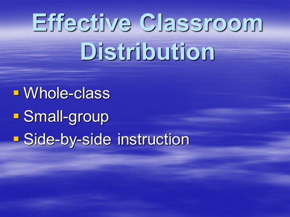 Effective Classroom Distribution Whole-class Whole-class Small-group Small-group Side-by-side instruction Side-by-side instruction