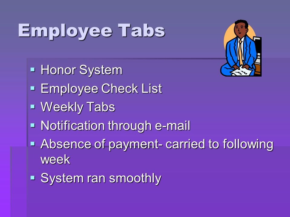 Employee Tabs Honor System Honor System Employee Check List Employee Check List Weekly Tabs Weekly Tabs Notification through e-mail Notification through e-mail Absence of payment- carried to following week Absence of payment- carried to following week System ran smoothly System ran smoothly