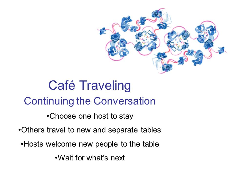 Café Traveling Continuing the Conversation Choose one host to stay Others travel to new and separate tables Hosts welcome new people to the table Wait for whats next