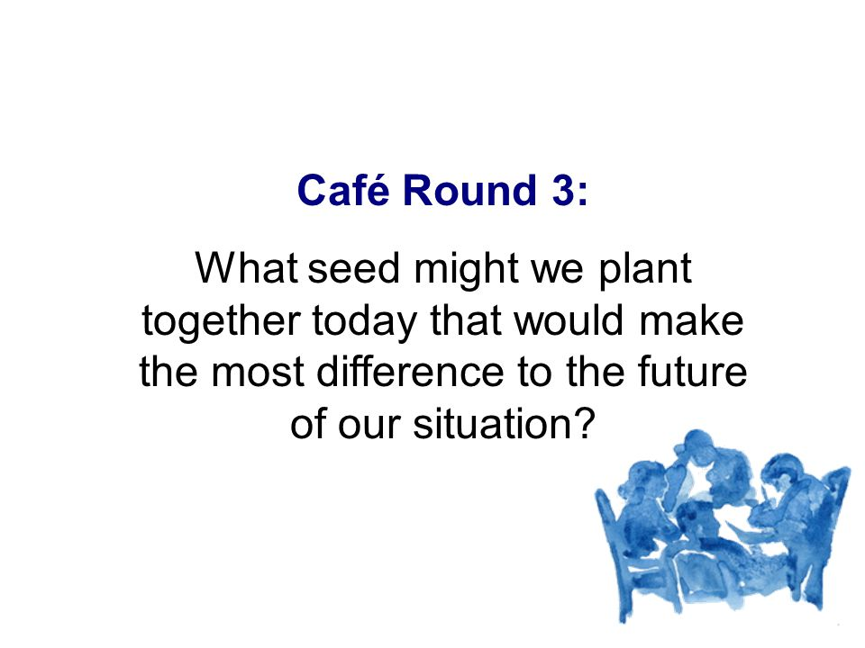 Café Round 3: What seed might we plant together today that would make the most difference to the future of our situation