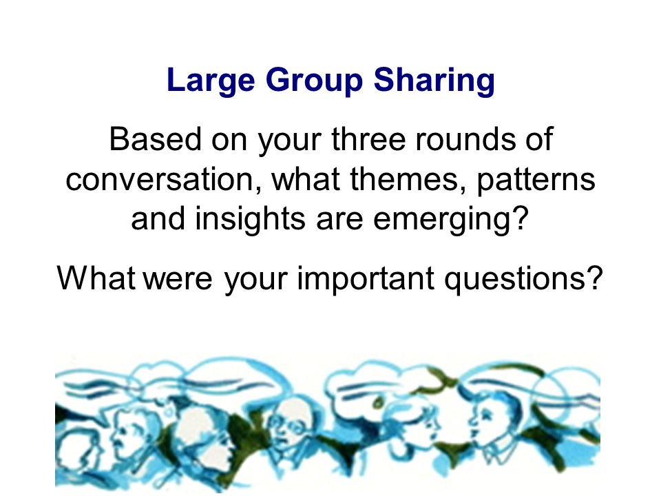 Large Group Sharing Based on your three rounds of conversation, what themes, patterns and insights are emerging.