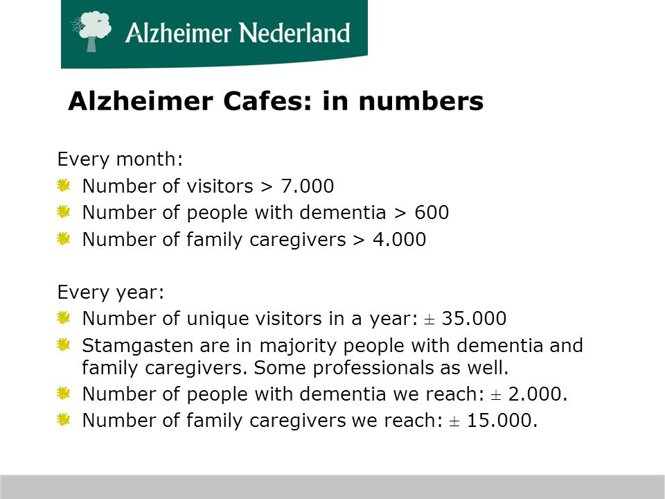 Alzheimer Cafes: in numbers Every month: Number of visitors > 7.000 Number of people with dementia > 600 Number of family caregivers > 4.000 Every year: Number of unique visitors in a year: ± 35.000 Stamgasten are in majority people with dementia and family caregivers.