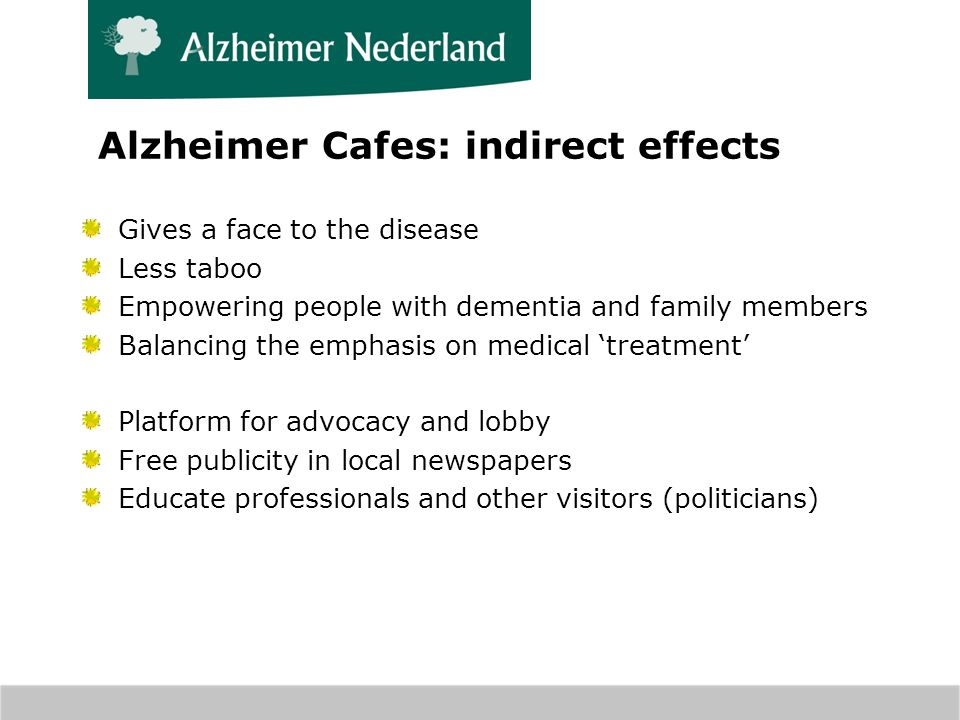 Alzheimer Cafes: indirect effects Gives a face to the disease Less taboo Empowering people with dementia and family members Balancing the emphasis on medical treatment Platform for advocacy and lobby Free publicity in local newspapers Educate professionals and other visitors (politicians)