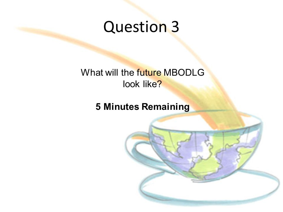 Question 3 What will the future MBODLG look like? 5 Minutes Remaining