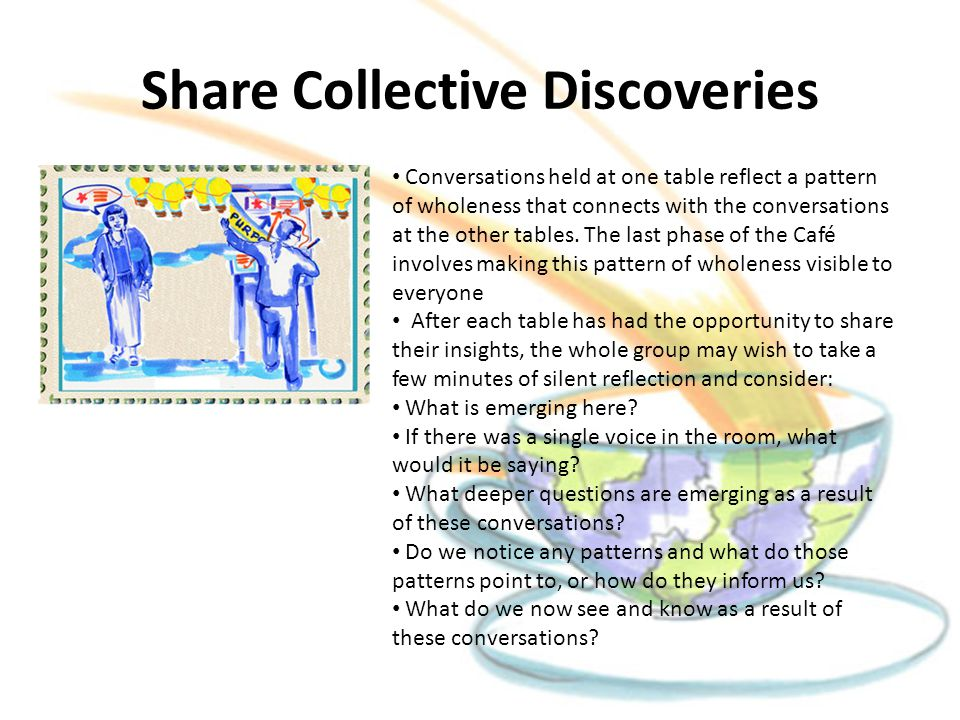 Share Collective Discoveries Conversations held at one table reflect a pattern of wholeness that connects with the conversations at the other tables.