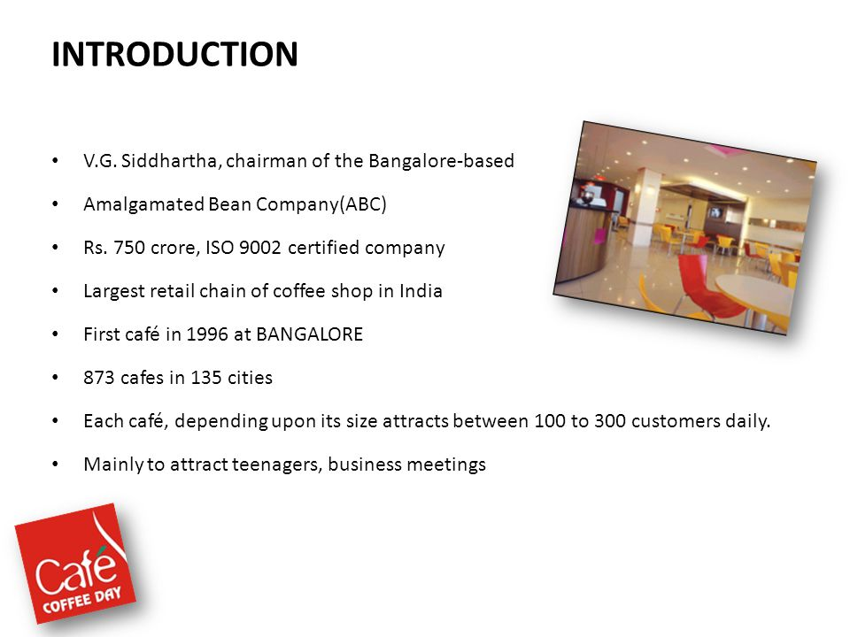 INTRODUCTION V.G. Siddhartha, chairman of the Bangalore-based Amalgamated Bean Company(ABC) Rs. 750 crore, ISO 9002 certified company Largest retail c