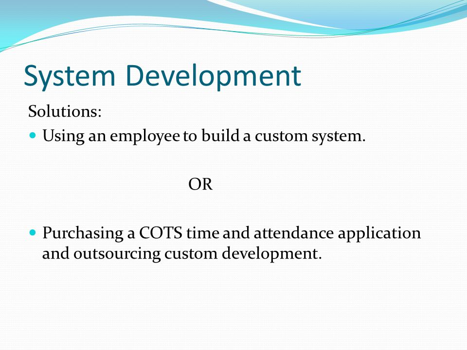 System Development Solutions: Using an employee to build a custom system. OR Purchasing a COTS time and attendance application and outsourcing custom