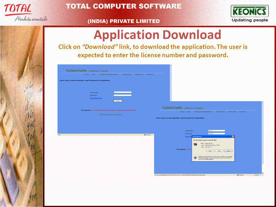 Application Download Click on Download link, to download the application.