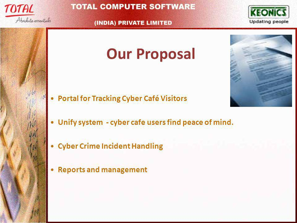 Our Proposal Portal for Tracking Cyber Café Visitors Unify system - cyber cafe users find peace of mind.
