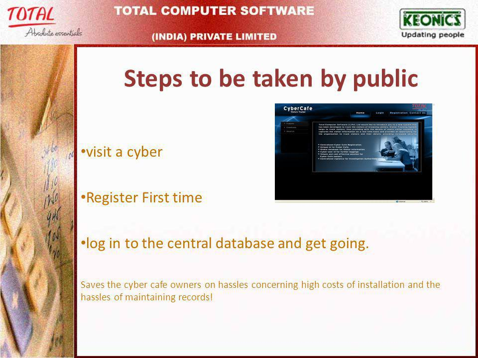 Steps to be taken by public visit a cyber Register First time log in to the central database and get going.