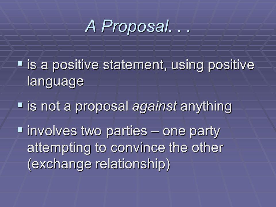 A Proposal...