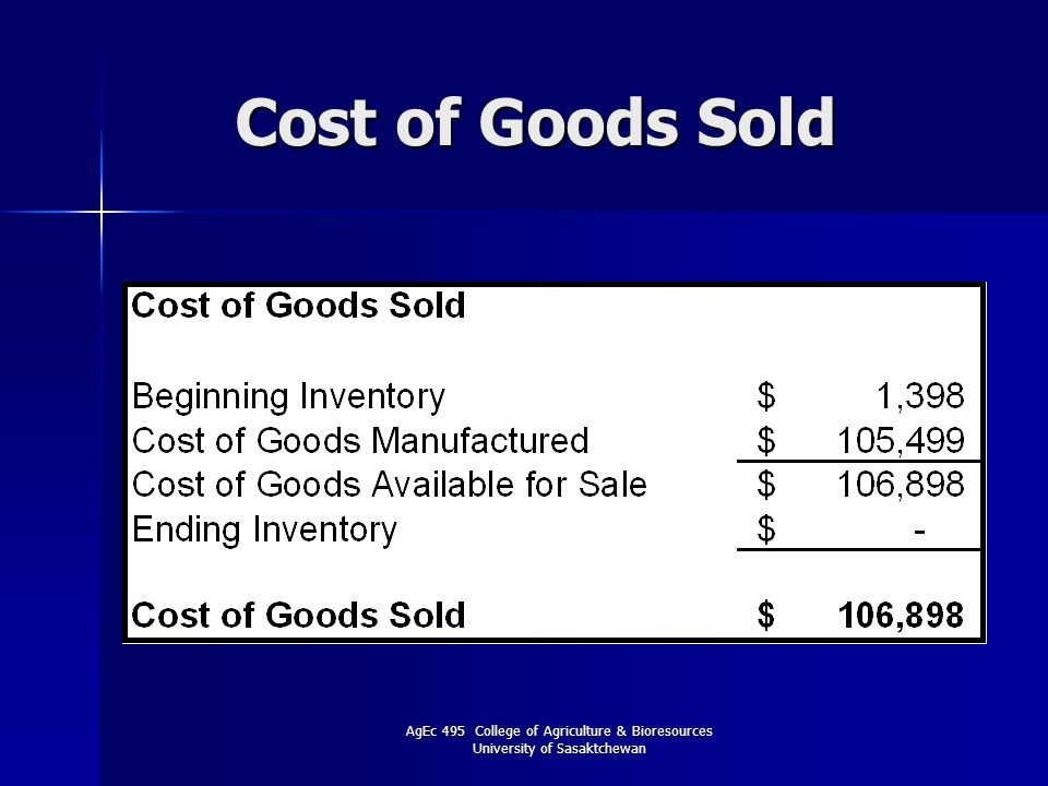 AgEc 495 College of Agriculture & Bioresources University of Sasaktchewan Cost of Goods Sold