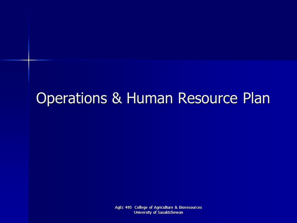 Operations & Human Resource Plan
