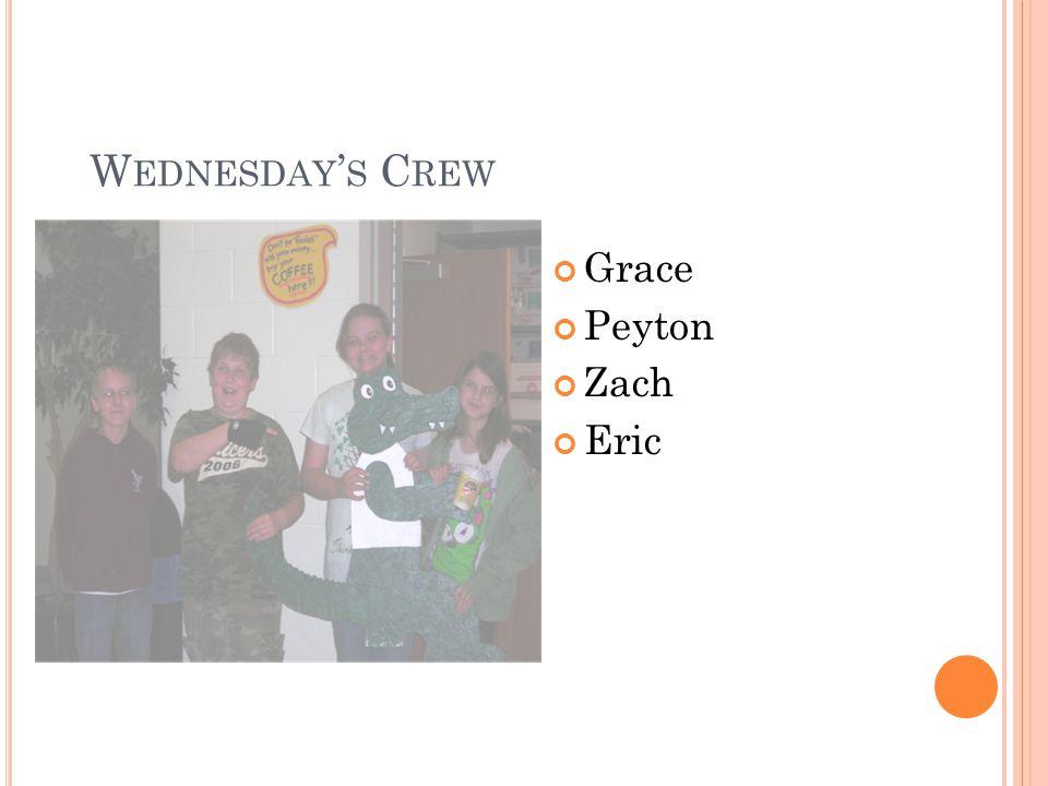 W EDNESDAY S C REW Grace Peyton Zach Eric