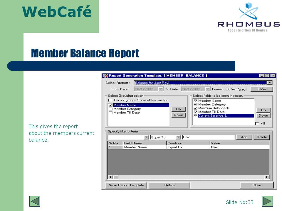 WebCafé Slide No:33 Member Balance Report This gives the report about the members current balance.