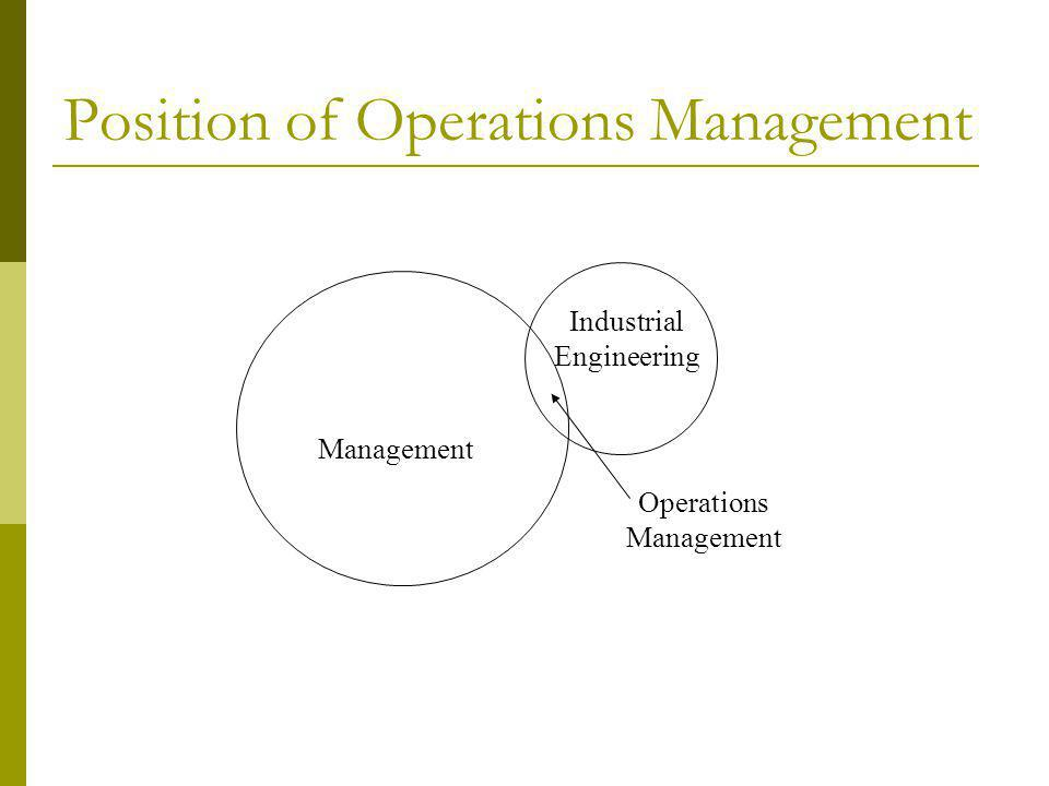 Position of Operations Management Management Industrial Engineering Operations Management