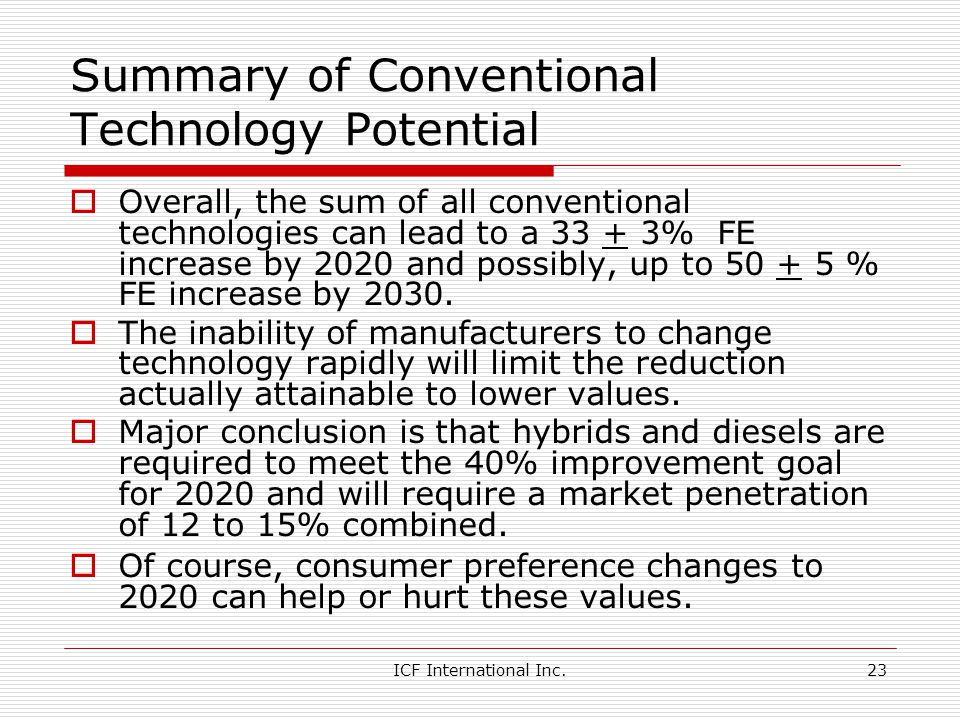ICF International Inc.23 Summary of Conventional Technology Potential Overall, the sum of all conventional technologies can lead to a 33 + 3% FE increase by 2020 and possibly, up to 50 + 5 % FE increase by 2030.