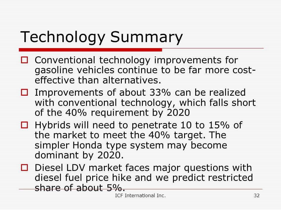 ICF International Inc.32 Technology Summary Conventional technology improvements for gasoline vehicles continue to be far more cost- effective than alternatives.