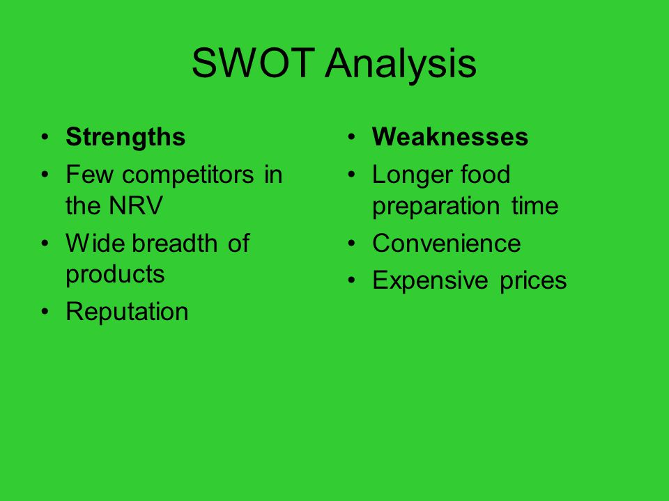 SWOT Analysis Strengths Few competitors in the NRV Wide breadth of products Reputation Weaknesses Longer food preparation time Convenience Expensive p