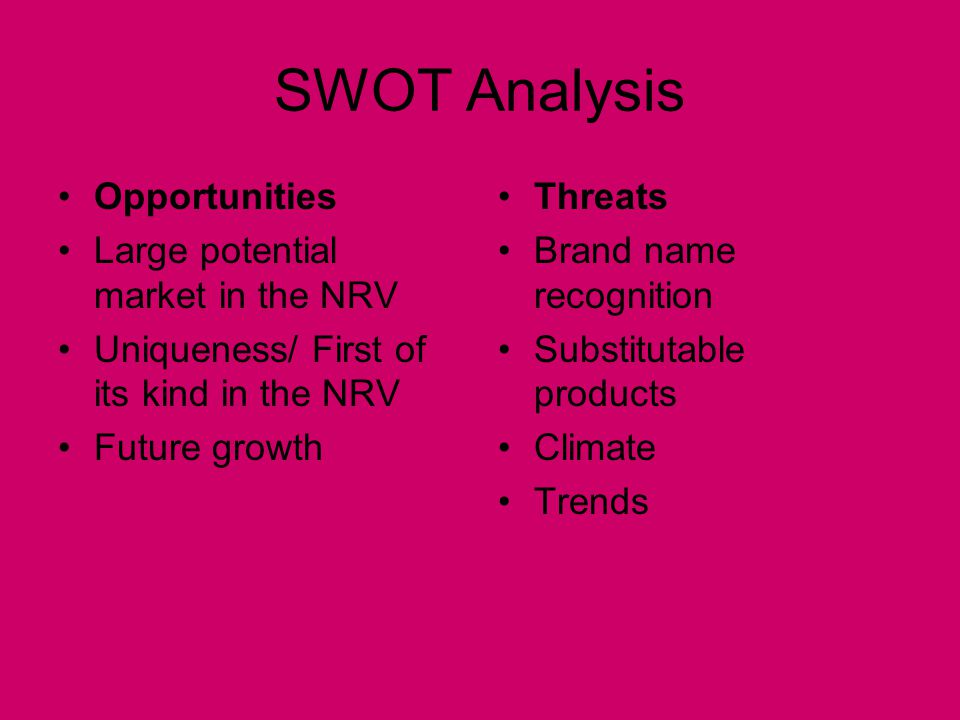 SWOT Analysis Opportunities Large potential market in the NRV Uniqueness/ First of its kind in the NRV Future growth Threats Brand name recognition Su