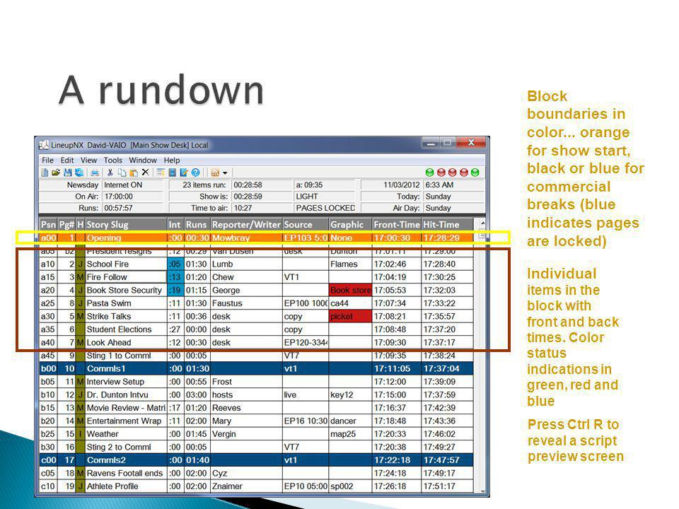 Block boundaries in color... orange for show start, black or blue for commercial breaks (blue indicates pages are locked) Individual items in the bloc