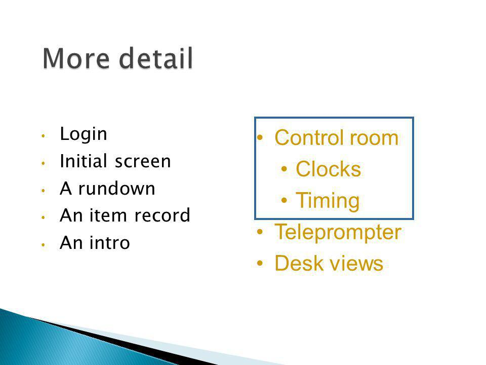 Login Initial screen A rundown An item record An intro Control room Clocks Timing Teleprompter Desk views